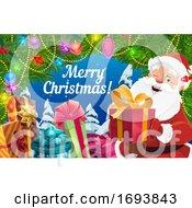 Poster, Art Print Of Christmas Gifts Santa Claus And Xmas Tree Garland