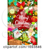 Poster, Art Print Of Christmas Tree Decorations Snowflakes And Toys