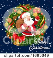 Christmas Wreath With Santa Xmas Bell And Gifts