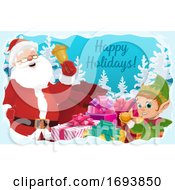 Santa Claus With Christmas Bell Gifts And Elf