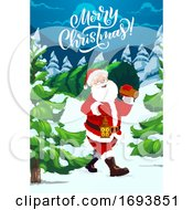 Poster, Art Print Of Santa Carrying Christmas Tree Night Winter Forest