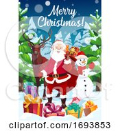 Poster, Art Print Of Santa Snowman And Reindeer With Christmas Gifts