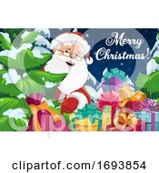 Santa Claus With Christmas Tree And Gift Boxes