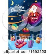 Poster, Art Print Of Christmas Poster Santa Flying On Sleigh With Gift