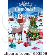 Poster, Art Print Of Christmas Tree Decorations And Reindeer With Gifts