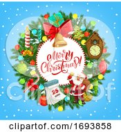 Poster, Art Print Of Christmas Wreath With Santa Xmas Gifts And Bell