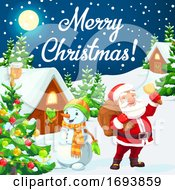 Poster, Art Print Of Santa And Snowman With Christmas Tree Gifts Bell