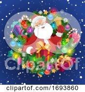 Poster, Art Print Of Santa With Xmas Bell Gift Box Christmas Wreath