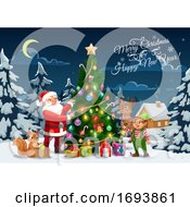 Santa Elf And Reindeer Decorating Christmas Tree