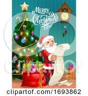 Christmas Poster Santa Reading Gifts Wish List