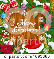 Poster, Art Print Of Christmas Tree Decorations Holly Wreath And Gifts