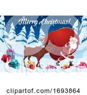 Poster, Art Print Of Santa Claus And Reindeer With Christmas Gift Bag