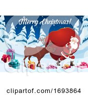 Santa Claus And Reindeer With Christmas Gift Bag
