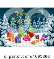 Christmas Gift Presents On Snow In Nigh Forest