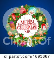 Poster, Art Print Of Christmas Wreath Xmas Tree Decorations And Gifts