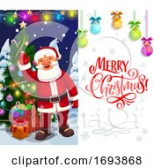 Christmas Holiday Santa With Xmas Tree And Gifts