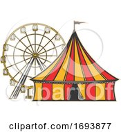 Cirucs Big Top Tent And Ferris Wheel by Vector Tradition SM