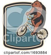 Trained Circus Bear Riding A Bicycle by Vector Tradition SM