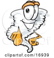 Clipart Picture Of A Tornado Mascot Cartoon Character Pointing Outwards At The Viewer by Toons4Biz