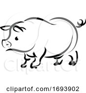 Calligraphy Styled Chinese Zodiac Pig