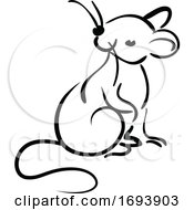 Calligraphy Styled Chinese Zodiac Rat