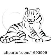 Calligraphy Styled Chinese Zodiac Tiger by Vector Tradition SM
