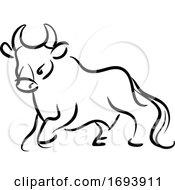 Calligraphy Styled Chinese Zodiac Ox by Vector Tradition SM