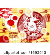 Poster, Art Print Of Chinese Zodiac Rat With Lunar New Year Lanterns