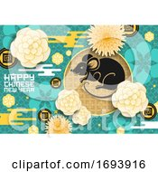 Poster, Art Print Of Zodiac Rat With Chinese New Year Papercut Flowers