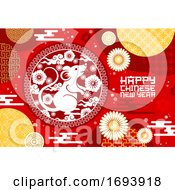 Poster, Art Print Of Chinese New Year Zodiac Rat And Papercut Flowers