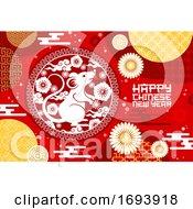 Chinese New Year Zodiac Rat And Papercut Flowers