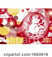 Poster, Art Print Of Chinese New Year Zodiac Rat With Papercut Flowers