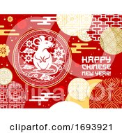 Chinese Animal Zodiac Rat Card Of Lunar New Year