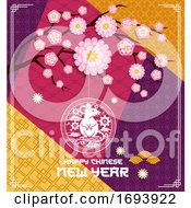 Poster, Art Print Of Chinese New Year Rat And Branch With Pink Flowers