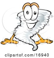 Tornado Mascot Cartoon Character Sitting