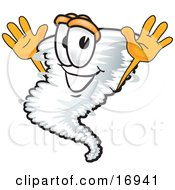 Clipart Picture Of A Tornado Mascot Cartoon Character Jumping
