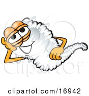 Clipart Picture Of A Tornado Mascot Cartoon Character Lying On His Side And Resting His Head On His Hand