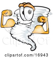 Tornado Mascot Cartoon Character Flexing His Arm Muscles
