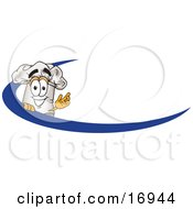 Clipart Picture Of A Chefs Hat Mascot Cartoon Character On An Employee Name Tag With A Blue Dash