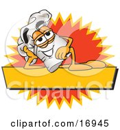 Clipart Picture Of A Chefs Hat Mascot Cartoon Character Resting Over A Blank Yellow Label