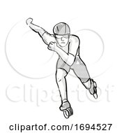 Athlete Skater Inline Speed Skating Cartoon Retro Drawing