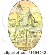 Medieval European Castle Church And Building Drawing