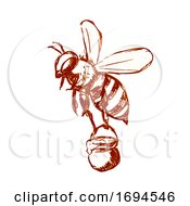 Honey Bee Carrying Pail Of Honey Drawing Black And White