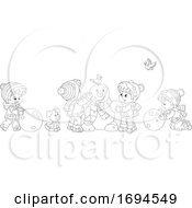 Poster, Art Print Of Children Making A Snowman On A Winter Day