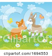 Poster, Art Print Of Baby Donkey And Cow