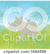 Poster, Art Print Of Cute Rhino With A Bird On Its Back