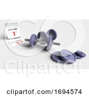 Poster, Art Print Of Cast Iron Dumbbell Weights With Calendar