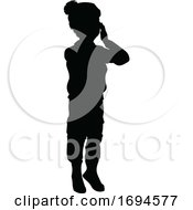 Poster, Art Print Of Silhouette Kid Child In Winter Christmas Clothing