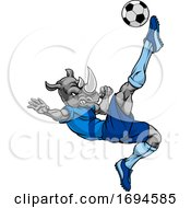 Rhino Soccer Football Player Animal Sports Mascot by AtStockIllustration