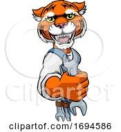 Poster, Art Print Of Tiger Plumber Or Mechanic Holding Spanner